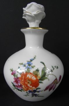 Porcelain Floral Gold Trimmed Perfume Bottle Decanter Made in Germany Numbered | eBay