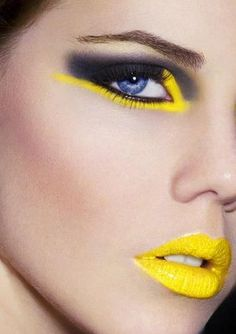 make-up, eyes, lips, yellow, black