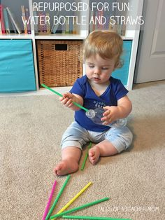 Repurposed for Fun: Bottle and Straws – Tales of a Teacher Mom – Kinderspiele Straw Activities, Activities For One Year Olds, Toddler Learning Activities, Montessori Activities, Baby Learning, Infant Activities, 1year Old Activities, Montessori Toddler, Parenting Toddlers