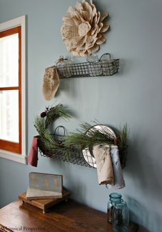 the rustic wire basket shelves - Whimsical Perspective: A Few Quick Dining Room Updates