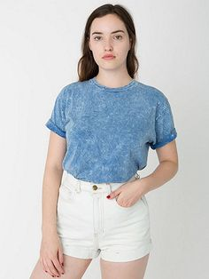 New! Unisex Acid Wash Jersey Short Sleeve Crew Neck T-Shirt #AmericanApparel