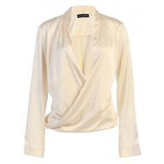 JLUXBASIX Ivory Cross Draped Satin Blouse (3,060 INR) ❤ liked on Polyvore featuring tops, blouses, shirts, long sleeve top, ivory blouse, sexy blouses, pink shirts, sexy satin blouse and satin blouse