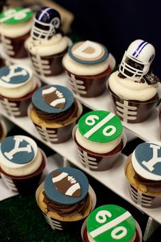 Football Cupcakes -- cute game day food.