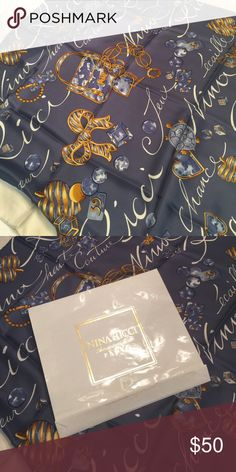 "Nina Ricci, silk scarf Large, Nina Ricci, silk scarf, in beautiful slate blue with cream and gold design.  Purchased in Paris.  34""x34"".  Never worn or used.  In original packaging. Nina Ricci Accessories Scarves & Wraps"