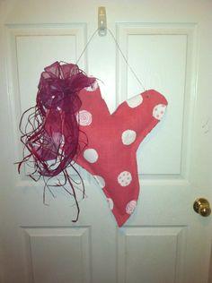 Valentine door decoration made of burlap!
