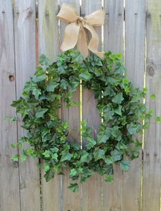 Spring Wreaths, Summer Wreaths, Ivy and Burlap Bow for Year Round, Year Round Wreaths, HornsHandmade, Etsy Wreaths by HornsHandmade on Etsy https://www.etsy.com/listing/157642676/spring-wreaths-summer-wreaths-ivy-and