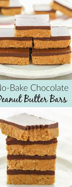 These super simple No-Bake Chocolate Peanut Butter Bars only require 5 ingredients! Also they only take about 10 minutes to make! These two things make them the perfect easy dessert for chocolate and peanut butter lovers! Simple easy and fast dessert how can you go wrong? #peanutbutter #chocolate #dessert #recipe #homemade ...olate over heated water To do this fill a heavy bottom pan with water and put it to boilPlace your chocolate in a bowl and as the water is boiling in ...sure you keep a… Peanut Butter Snacks, Peanut Butter No Bake, Peanut Butter Chocolate Bars, Homemade Peanut Butter, Chocolate Chocolate, Peanut Butter Desert Recipes, Melting Chocolate, Easy Peanut Butter Balls, Peanut Butter Chicken