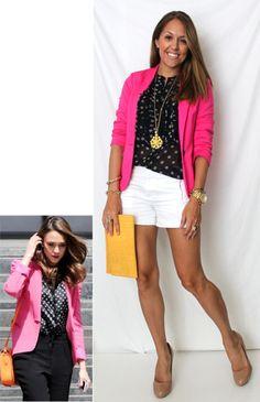 Pink Jacket + white sorts... J's Everyday Fashion: Today's Everyday Fashion: Style Chameleon