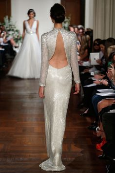 Jenny Packham – Bridal Fall 2013    TAGS:Embellished, Floor-length, Long sleeves, High neck, Anything but white, Grey, Ivory, Silver, Jenny Packham, Jewelled, Satin, Tulle, Dramatic, Modern