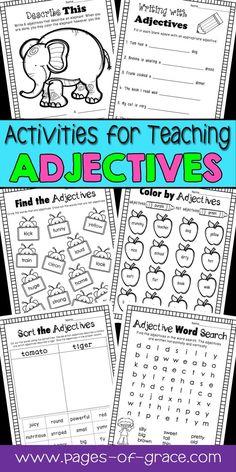 Adjectives Unit Grade Sen First Grade Worksheets Comparative Adjectives Worksheet, Adjectives Activities, Nouns And Adjectives, Fun Activities, Back To School Worksheets, 2nd Grade Math Worksheets, Worksheets For Kids, Printable Worksheets, Phonics Worksheets