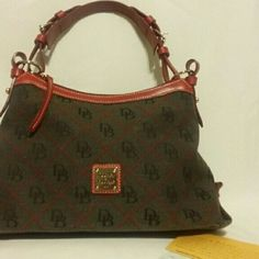 Dooney & Bourke brown and red handbag Brown and red Dooney & Bourke with red leather shoulder strap Dooney & Bourke Bags Shoulder Bags