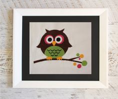Modern Cross Stitch Pattern. Twiggy the Owl. PDF Instant Download. Easy Cross Stitch Pattern by WoodleyLane on Etsy #crossstitch #crossstitchpatterns