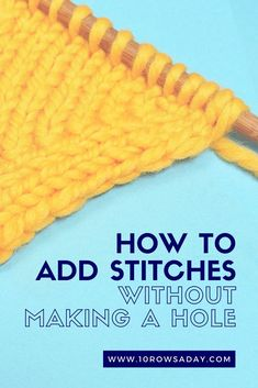Detailed knitting tutorial about two ways to knit into the front and back of a stitch to make increases without forming a hole. Knitting Increase, Knitting Help, Knitting Books, Knitting For Beginners, Vintage Knitting, Loom Knitting, Knitting Stitches, Knitting Machine, Hand Knitting