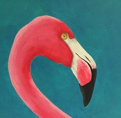 Flamingo Pink Flamingo Acrylic Painting Pink von MulberryInkVintage, mehr Acrylbilder zum Verkauf unter http://www.kunstplaza.de/online-galerie/