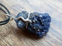 Rough azurite and sterling silver necklace Handmade by Unics