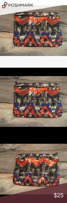 Zara Sequin Tribal Clutch Zara Sequin Tribal Clutch Purchased in Madrid Zara Bags Clutches & Wristlets