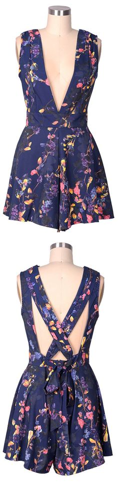 Brighten the room with the blooming power of the Need A Trim Floral Plunging Romper! Navy blue is covered with floral print over a sleeveless bodice with plunging neckline, and cross back. This romper is soooo ready to get out and go about!