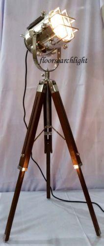 HANDMADE-NAUTICAL-DESIGNER-STUDIO-FLOOR-LAMP-TRIPOD-STAND-SPOT-SEARCHLIGHT