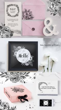 Make elegant and chic graphic designs with this Elegant Black & White Floral digital clipart collection! Modern and trendy - perfect for feminine designs that aren't too cute or girly.