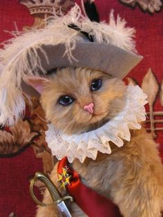 Puss in Boots....Mohair Kitty artist made. Photo via web....
