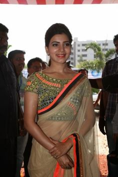 Samantha latest glam pics in saree-19 posing outside in a saree with her Nri boyfriend in a function looking lovely and rumours have already spread that she is ready for marriage now and want to settle in life.