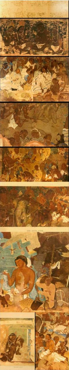 """Buddhist Mural on the walls of Bagh Caves (Rock cut man-made caves), in Madhya Pradesh, India - 358 - 487 AD, Gupta Period. Analyzing the technique Marshall wrote, """"At Bagh, as at Ajanta, the paintings are done in Tempera, not as has been often stated in Fresco and the process and colors employed at both places seems to be have been the same. At Bagh, however less care has been taken over the preparation of the first rough coat (Rinfazzo)."""""""