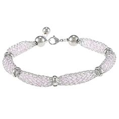 La Preciosa Stainless Steel Crystal-filled Mesh Bracelet, Women's