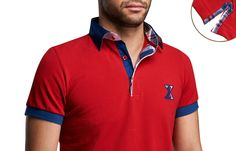 Red Checkered Polo Shirt Short-sleeves  $89.90 Men's Fashion XOOS French Shirts