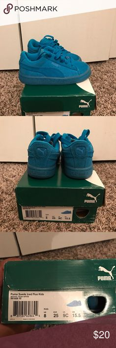 Toddler Girls Suede Blue Pumas - Size 9C Great condition. Toddler Girl's Blue Suede Pumas. Super cute! Size 9C. Only worn a few times. Puma Shoes Sneakers