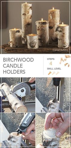 Create these unique birch wood candle holders for your home or for a friend in only 4 easy steps. : Create these unique birch wood candle holders for your home or for a friend in only 4 easy steps. Diy Wood Projects, Woodworking Projects, Projects To Try, Woodworking Patterns, Woodworking Ornaments, Woodworking Plans, Woodworking Beginner, Woodworking Chisels, Youtube Woodworking
