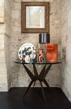 This home is another stunner by the team of Mis'en scène 40 . Tours, France is the l. Iron Table, Mid Century Modern Furniture, Art Of Living, Glass Table, Mid-century Modern, Tours France, Interior Design, Wrought Iron, Vignettes