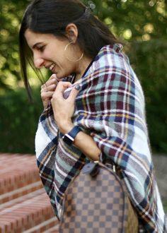 Fall outfit, Plaid Blanket Scarf, Louis Vuitton, Speedy