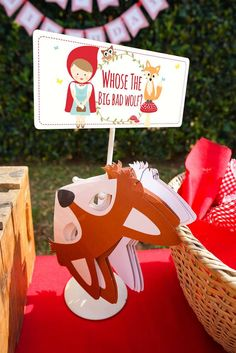 The printable masks at this Little Red Riding Hood Picnic Birthday Party are awesome. See more party ideas and share yours at CatchMyParty.com #littleredridinghood #1stbirthday