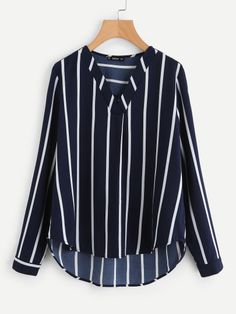 Shop V-Placket Curved Dip Hem Blouse online. SHEIN offers V-Placket Curved Dip Hem Blouse & more to fit your fashionable needs. Shirts & Tops, Shirt Blouses, Striped Long Sleeve Shirt, Long Sleeve Shirts, Cute Going Out Outfits, Indian Blouse, Fall Shirts, Blouse Online, Plus Size Blouses