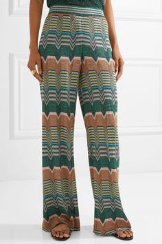 Missoni - Metallic Crochet-knit Wide-leg Pants - Green