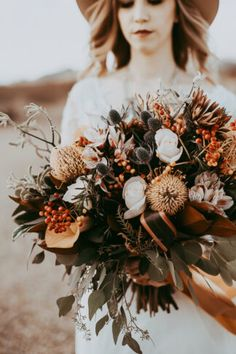 Boho Festival-Style Vegas Elopement at Nipton - eco friendly, dried flower moody wedding bouquet in burnt orange, neutrals and mint. Burnt Orange Weddings, Orange Wedding Flowers, Winter Wedding Flowers, Rustic Wedding Flowers, Flower Crown Wedding, Wedding Flower Arrangements, Flower Bouquet Wedding, Floral Wedding, Boquet