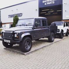 Variety on the courtyard at Twisted HQ. Check out our vehicle builder at www.twistedautomotive.com and customise every element of your dream Defender. - #TwistedDefender #LandRover #TwistedHQ #Style #Variety #Customised #Handcrafted #Handmade #Individual #Grey #White #Defender #LandRoverDefender #4x4 #Remap #Premium #ReadyForAnything #ModernClassic #Modified