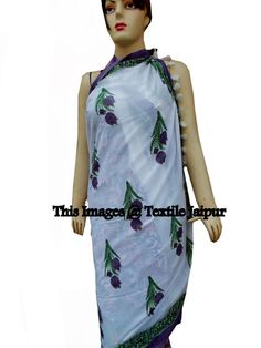 7662683884 Hand Block Cotton Sarong/Scarf/Stole Pareo Women's Beach Wear Bikini Cover  up