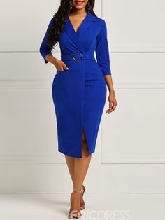 Ericdress Bodycon Half Sleeves Notched Lapel Womens Dress Find latest women's clothing, dresses, tops, outerwear, and other fashion clothing and enjoy the worldwide shipping # African Attire, African Fashion Dresses, African Dress, Fashion Outfits, Trendy Fashion, Latest Fashion, Dress Fashion, Office Dresses For Women, Dresses For Work