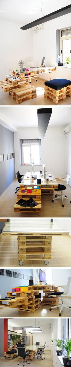 MOBILIARIO DE OFICINA HECHO DE PALLETS (reused wood pallets  to design an office space) #reciclaje #decoracion #diy