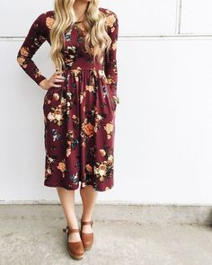 Burgundy Floral Long Sleeve Midi Dress - S / Red Modest Dresses, Modest Outfits, Cute Dresses, Fall Outfits, Cute Outfits, Hoco Dresses, Church Dresses, Sexy Outfits, Cute Fashion