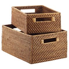 Like this, but darker brown (to store office supplies) Copper Rattan Bins