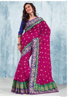$142.55 Fuchsia And Navy Blue Faux Georgette Saree 14978 With Unstitched Blouse