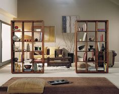 We again liked the idea of a visual break in an open concept garage living area. Small Space Interior Design, Interior Design Living Room, Room Deviders, Room Divider Bookcase, Bedroom Divider, Bookshelves, Gym Room At Home, Room Partition Designs, Hanging Room Dividers