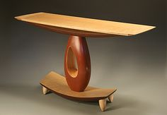 Teardrop Hall Table by Derek Secor Davis: Wood Console Table available at www.artfulhome.com