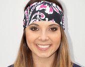 NEW! Pink/Black Flowers | Fitness headband | Yoga headband | Workout headband | Running headband | Wide Headband | Buy Any 5, Get 1 FREE!