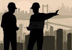 Engineer watching building process in city vector background Stock Vector