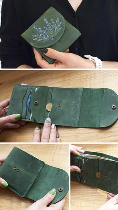Leather Bag Tutorial, Leather Wallet Pattern, Handmade Leather Wallet, Leather Gifts, Leather Bag Design, Leather Art, Distressed Leather, Leather Diy Crafts, Leather Accessories