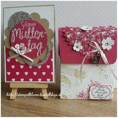 StampinUp!, bestehend aus Karte und Verpackung, Board für Geschenktüten, Stempelset Awesomely Artistic, Thinlits Blühendes Herz...