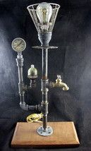 Re-purposed Industrial Steampunk Table Lamp FeaturingSpigot & Pressure G... - $148.49